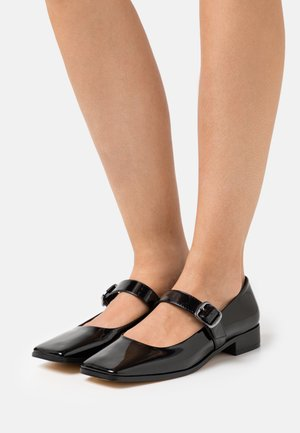 FLAT MARYJANE - Ankle strap ballet pumps - black