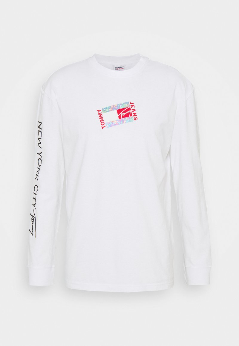 Tommy Jeans - SMALL FLAG BOX LOGO TEE UNISEX - Long sleeved top - white