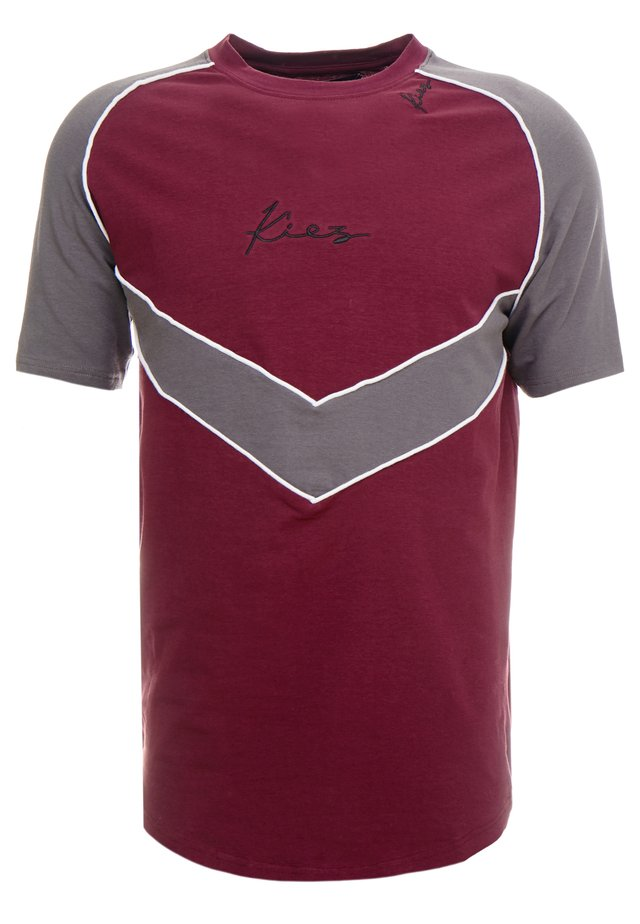 CHEVRON RAGLAN TEE - T-shirt imprimé - bordeaux/grey