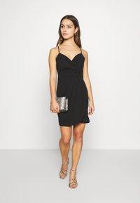 WAL G PETITE - SPAGUETTI STRAPS WRAP DRESS - Jersey dress - black - 1