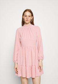 Closet - HIGH COLLAR MINI DRESS - Day dress - blush - 0