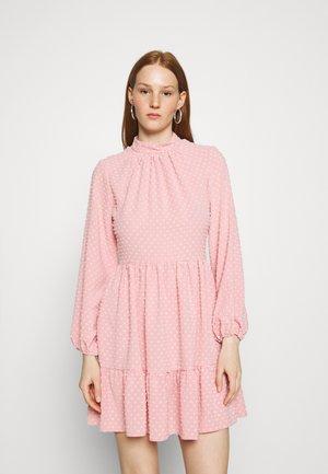 HIGH COLLAR MINI DRESS - Day dress - blush