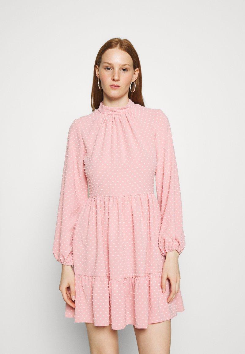Closet - HIGH COLLAR MINI DRESS - Day dress - blush