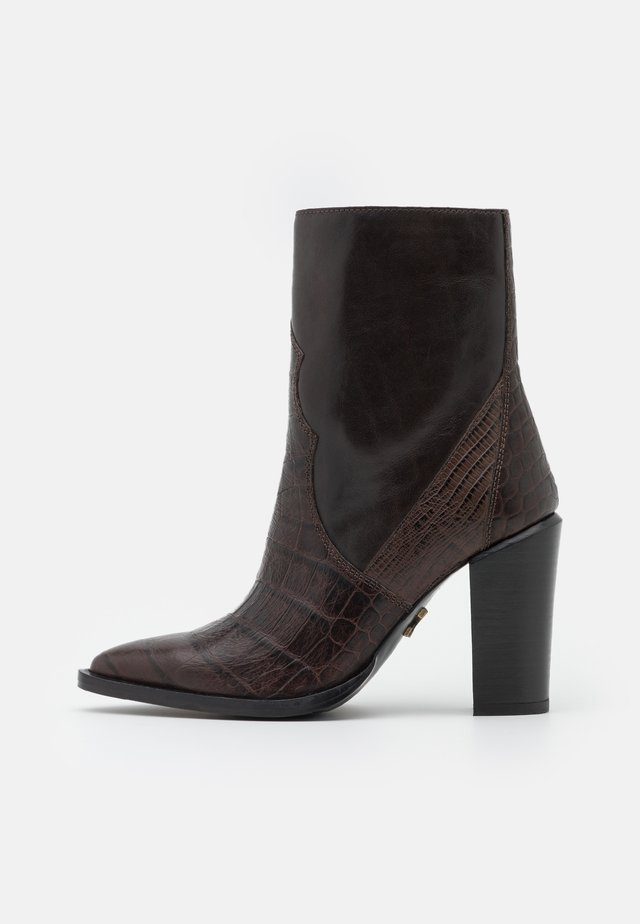 NEW AMERICANA - High heeled ankle boots - dark brown