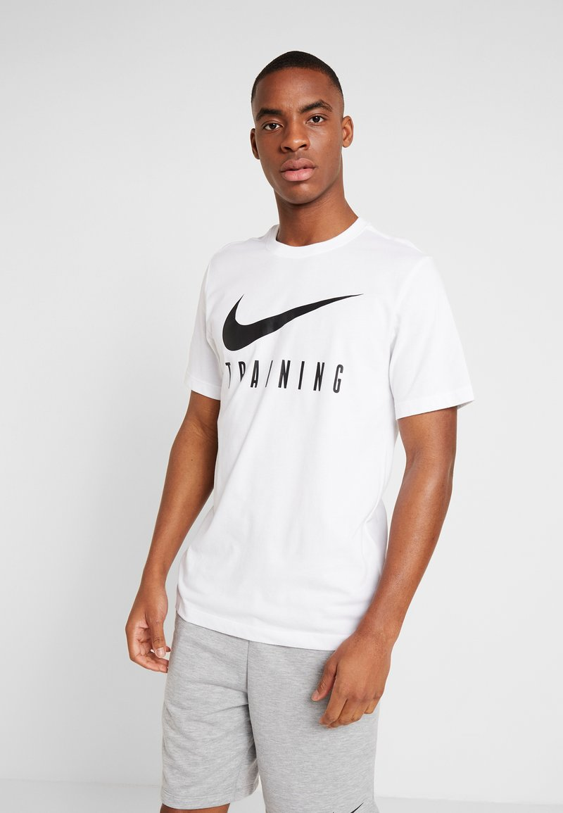 Nike Performance - DRY TEE NIKE TRAIN - T-Shirt print - white/black