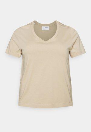 SLFANDARD NECK TEE - Basic T-shirt - white pepper