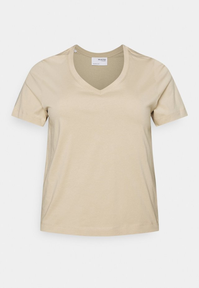 SLFANDARD NECK TEE - T-shirts - white pepper