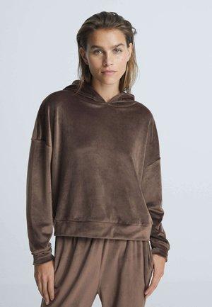 CROP AUS WEICHEM VELOURS - Hoodie - brown