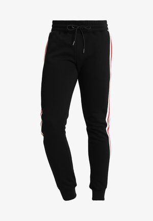 TERRY TONE SIDE STRIP PANTS - Tracksuit bottoms - black/white/firered