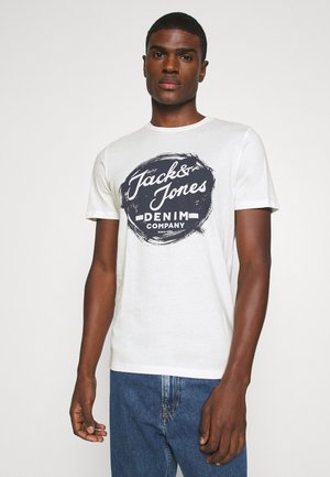 JJDEN TEE CREW NECK - T-shirt imprimé - cloud dancer
