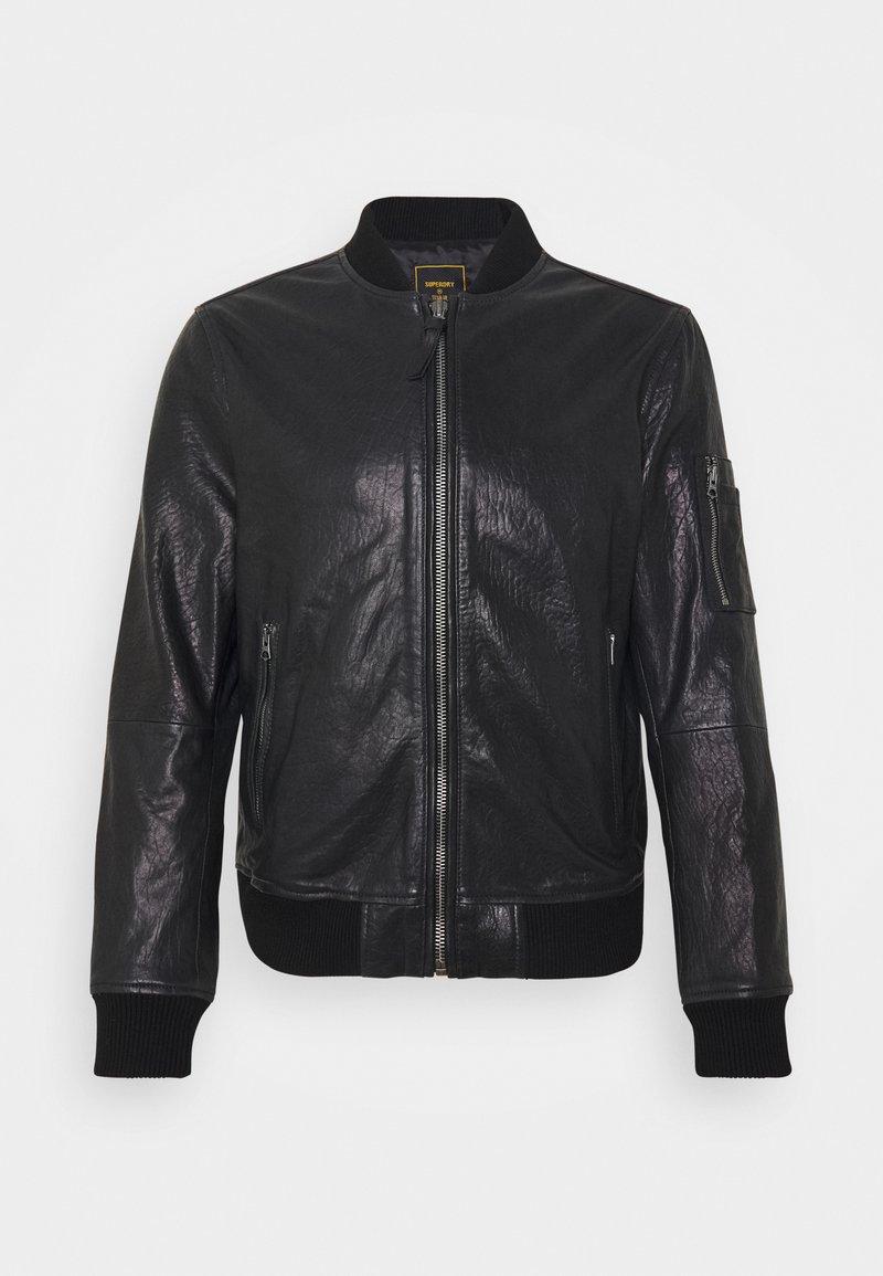 Superdry - Leather jacket - black