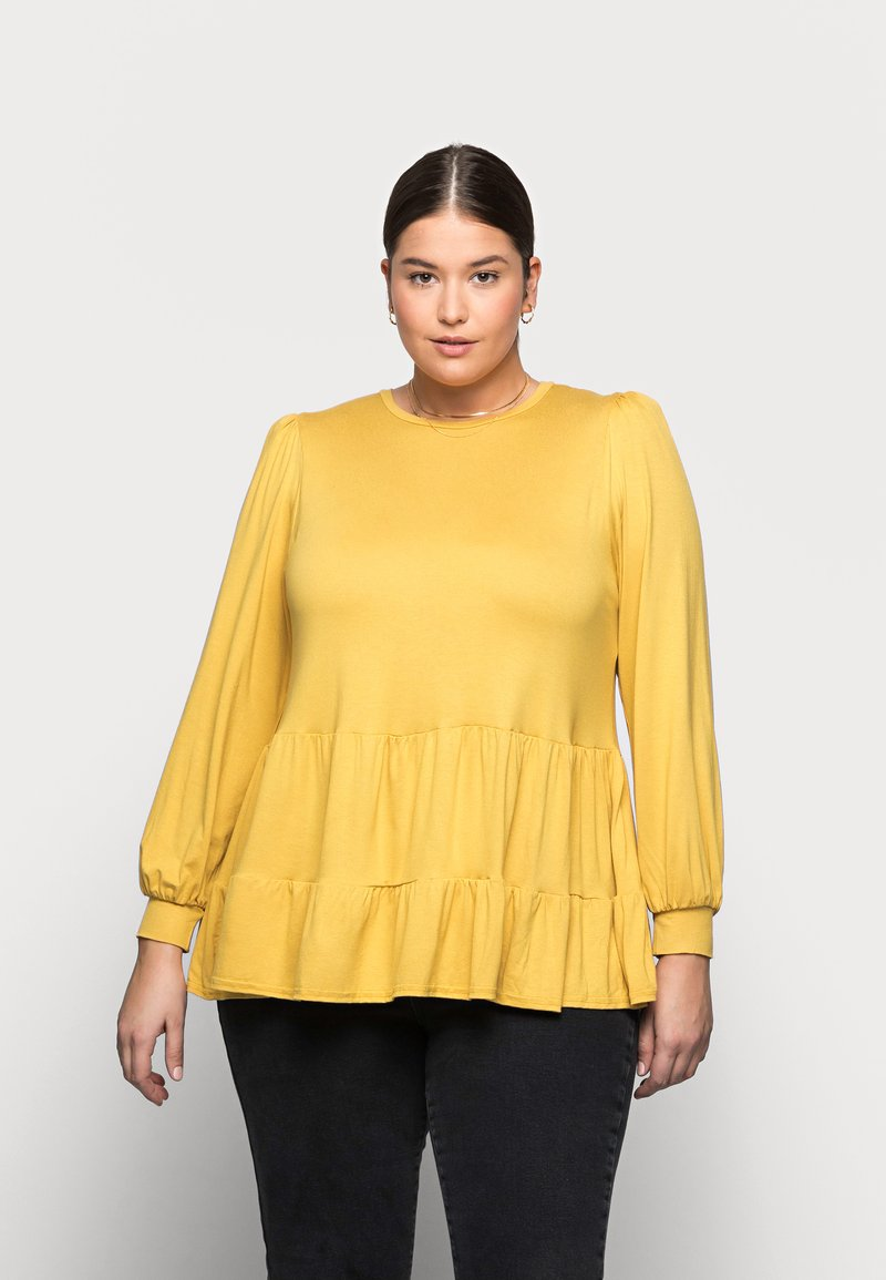 New Look Curves - TIER PEPLUM - Long sleeved top - dark yellow