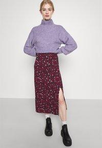Even&Odd - Midi high slit high waisted skirt - Pennkjol - black/multi-coloured - 3