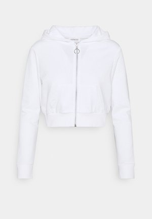 CROPPED SWEAT JACKET  - Huvtröja med dragkedja - white