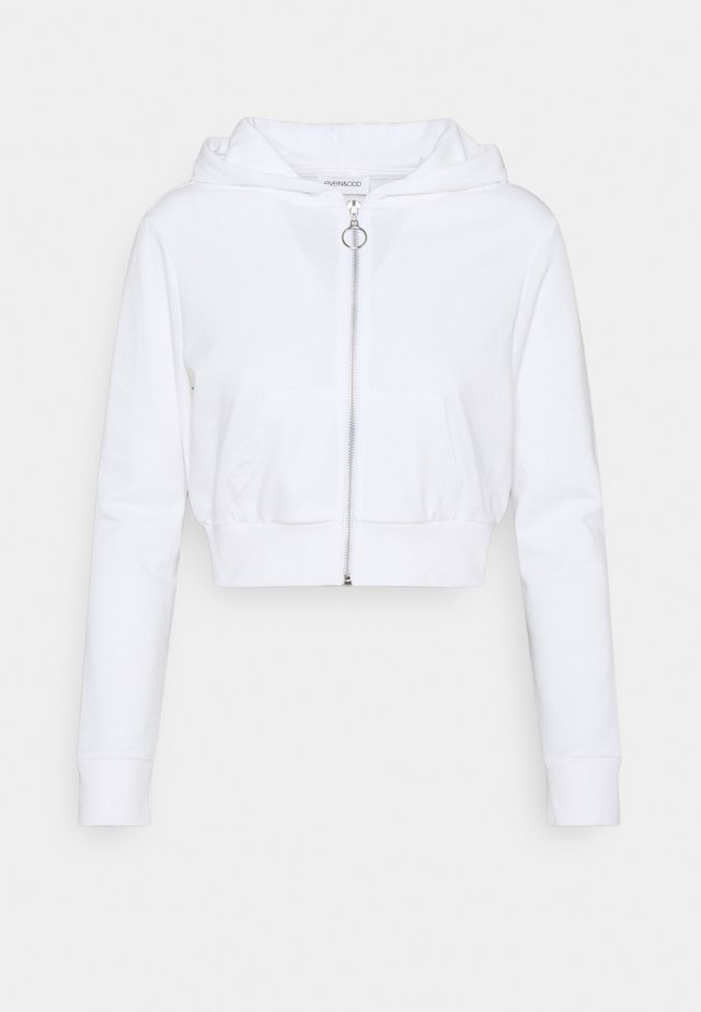CROPPED SWEAT JACKET  - Mikina na zip - white