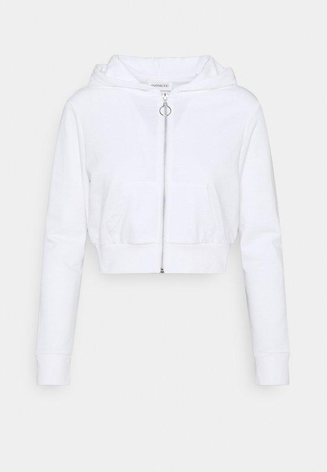 CROPPED SWEAT JACKET  - Zip-up hoodie - white