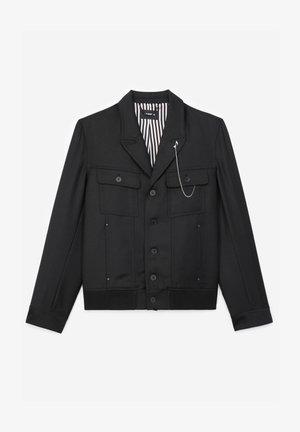 EN LAINE BOUTONNÉ À COL CRANTÉ - Light jacket - black