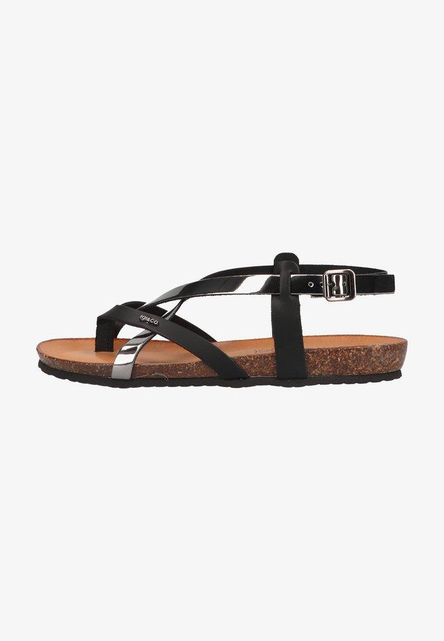 Sandaler m/ tåsplit - acciaio/nero
