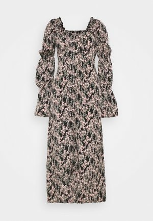 RUCHED TIE BUST MIDI DRESS FLORAL - Robe d'été - black