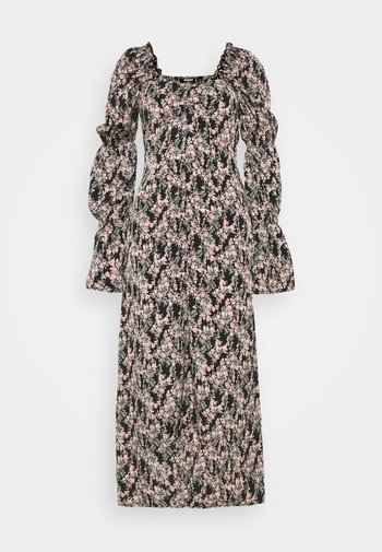 RUCHED TIE BUST MIDI DRESS FLORAL