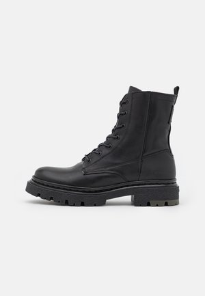 KAFEY HGH LACE LEA W - Platform ankle boots - black