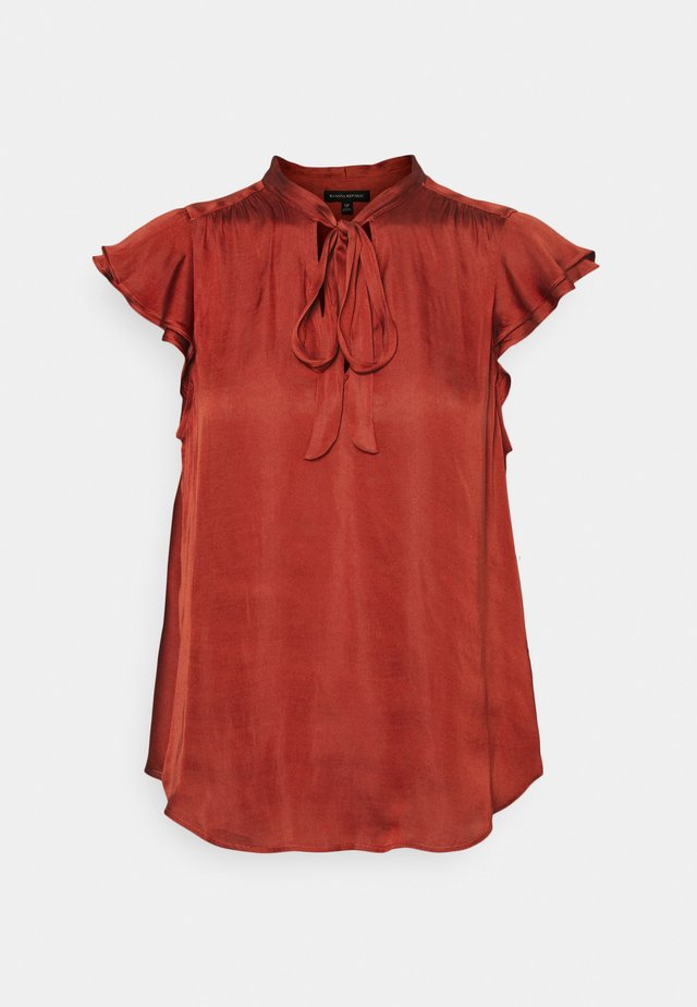 FLUTTER SLEEVE TIE NECK SOLIDS - Camicetta - red clay