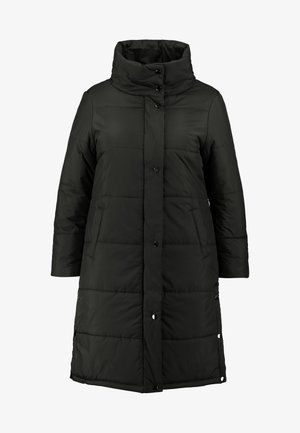 LONG PUFFER COAT WITH CONTRAST LINING - Classic coat - black