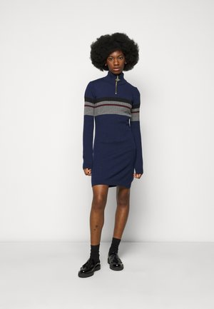 HALF ZIP DRESS - Shift dress - navy