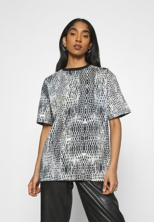 SMALL SIGNATURE SNAKE OVERSIZE TEE - T-shirt con stampa - white