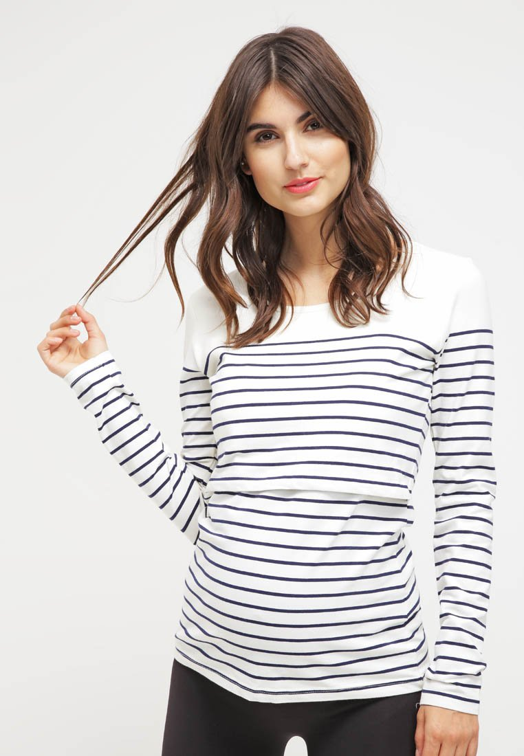 JoJo Maman Bébé - Long sleeved top - ecru/navy