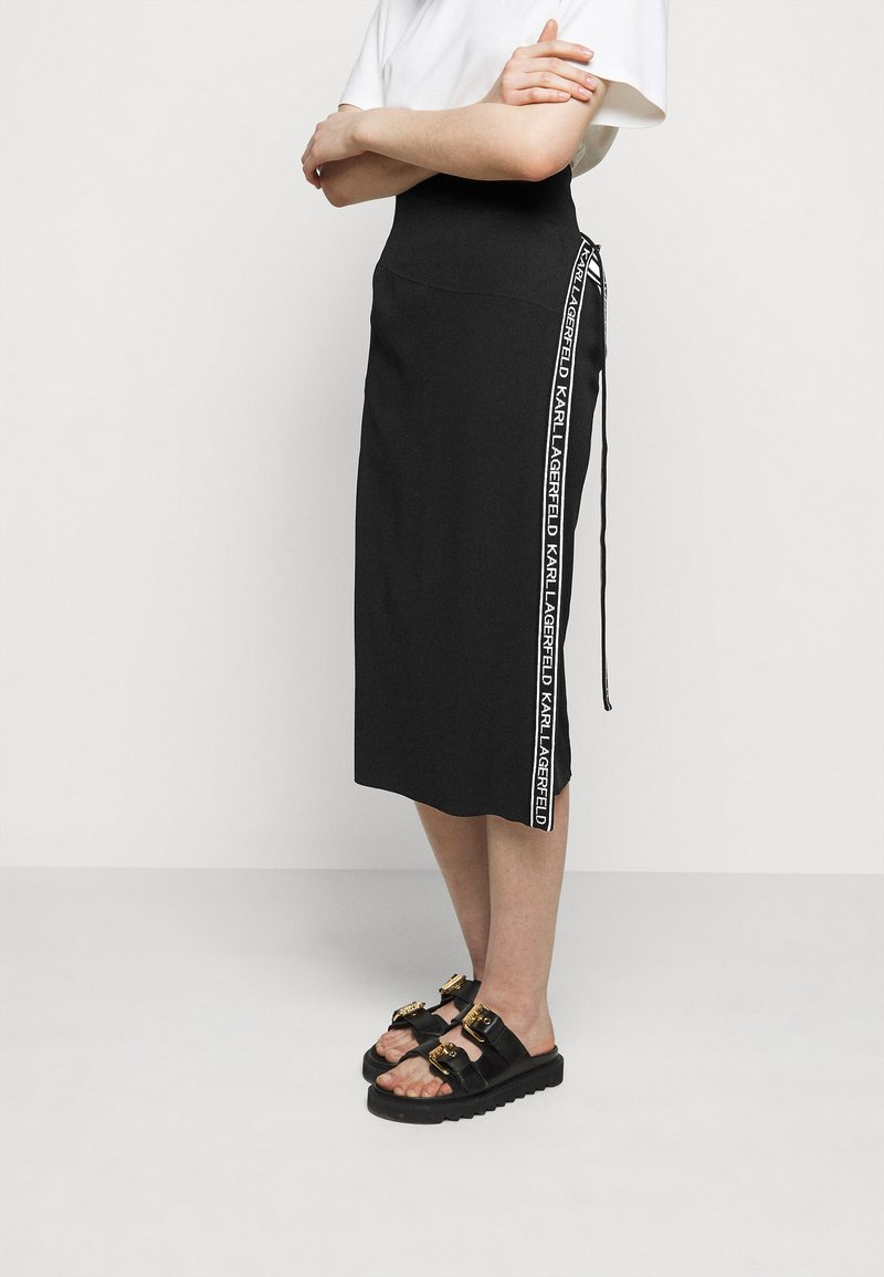 KARL LAGERFELD - LOGO TAPE WRAP SKIRT - Pencil skirt - black