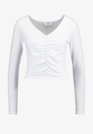 IVA NIKOLINA V-NECK GATHERED DETAIL - Top sdlouhým rukávem - white