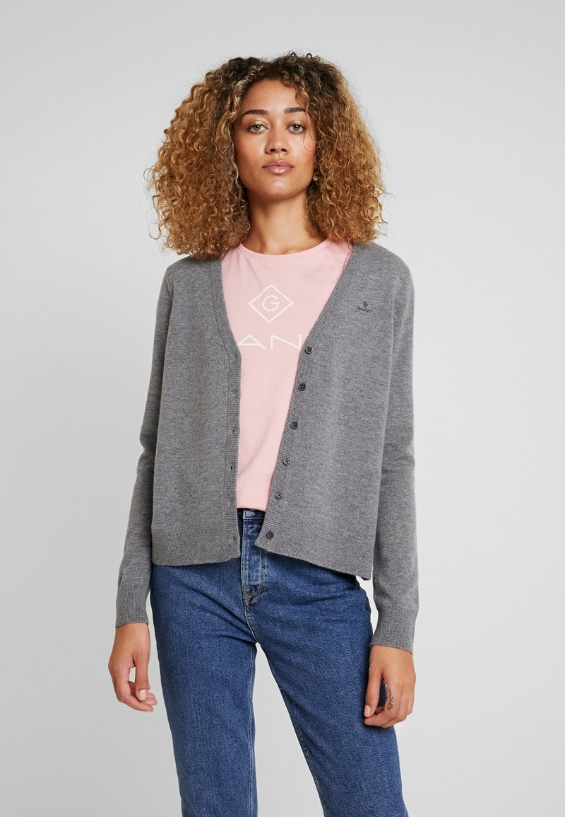 GANT - SUPERFINE - Cardigan - dark grey melange