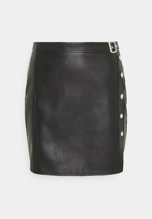 STUD SPLIT MINI SKIRT - Mini skirt - black