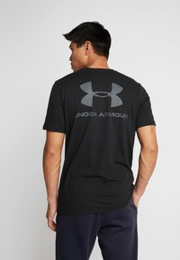 Under Armour - SPORTSTYLE BACK TEE - Print T-shirt - black/pitch gray - 0