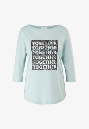 Print T-shirt - aqua blue statement print