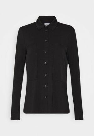 BLOUSE PATCH INSERTS COLLAR AND BUTTON PLACKET - Button-down blouse - pure black