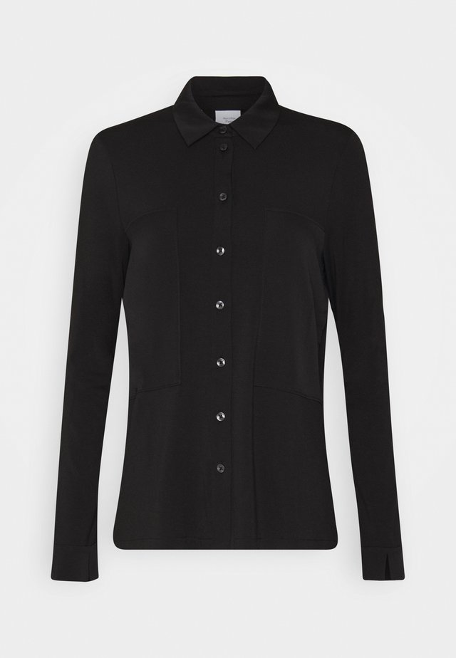 BLOUSE PATCH INSERTS COLLAR AND BUTTON PLACKET - Overhemdblouse - pure black