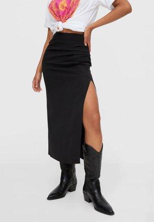 MIT RAFFUNG UND GLITZERPAILLETTEN - A-line skirt - black