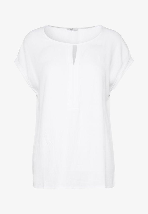 TOM TAILOR T-SHIRT FABRIC MIX PLACKET - Bluzka - whisper white/biały QGFB