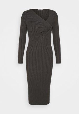 TWISTED FRONT DRESS - Etuikleid - dark grey