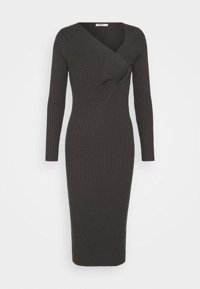 TWISTED FRONT DRESS - Fodralklänning - dark grey