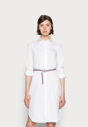 BELTED MIDI SHIRT DRESS - Shirt dress - white