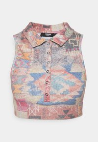 Jaded London - HALTER TOP WITH POPPER FASTENING PATCHWORK PRINT - Topper - multi - 4