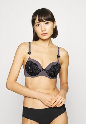 PADDED BRA - Underwired bra - grey/black