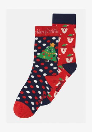 SANTA CLAUS/DOTS 2 PACK UNISEX - Socks - rot/navy