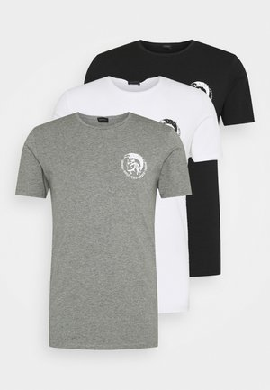UMTEE RANDAL 3 PACK - Basic T-shirt - white/ grey melange/ black