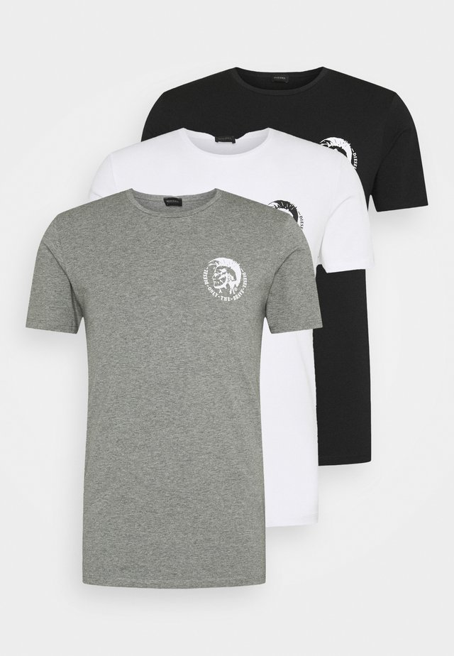 UMTEE RANDAL 3 PACK - T-shirts - white/ grey melange/ black