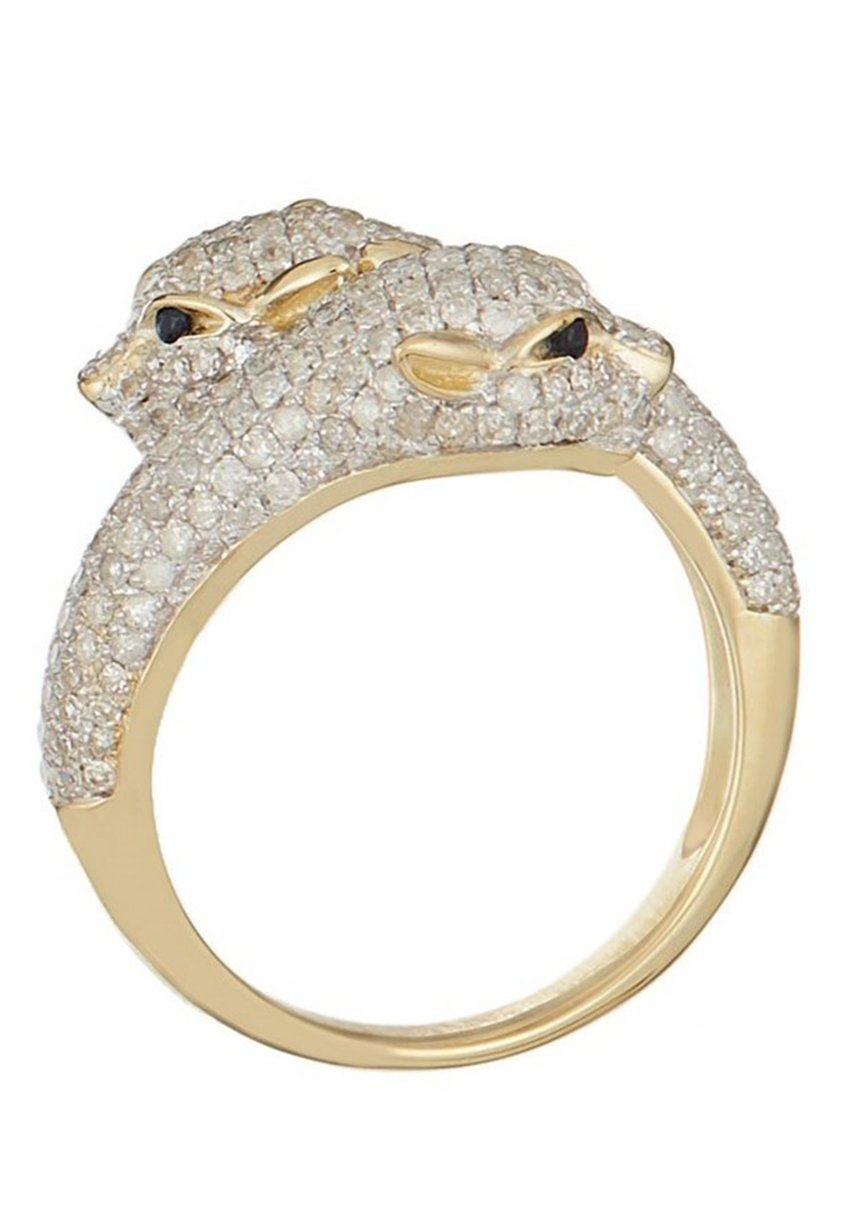Damen 9K YELLOW GOLD RING CERTIFIED 4 SAPPHIRES 0.03 CT AND 256 DIAMONDS HP1 1.28 CT - Ring