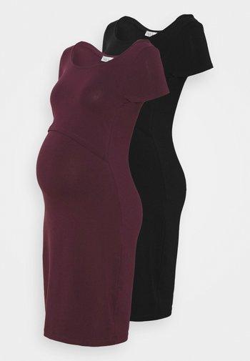 2ER PACK NURSING FUNCTION DRESS - Sukienka etui - black/bordeaux